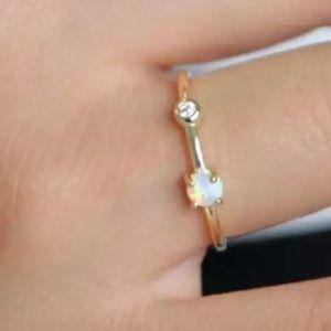 Jewelry - 🆕18k YGP 925 White Fire Opal andAAA CZ Ring 7.25